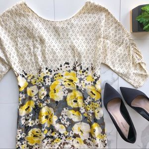 Meadow Rue Anthro Yellow Floral Polka Dot Dress